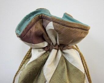 Plum, Ivory and Bronze Green Patchwork Silk Drawstring Bag