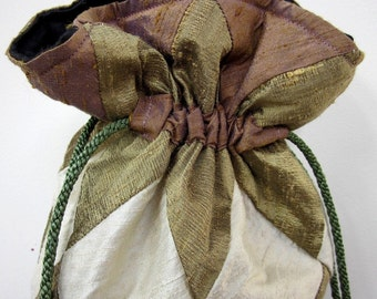 Plum, Bronze and Ivory Patchwork Silk Drawstring Bag