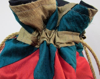 Bronze, Green, Red Patchwork Silk Drawstring Bag