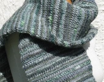 Green and Grey Striped Scarf