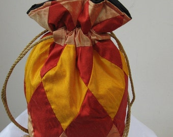 Peach Red Gold Silk Patchwork Drawstring Bag