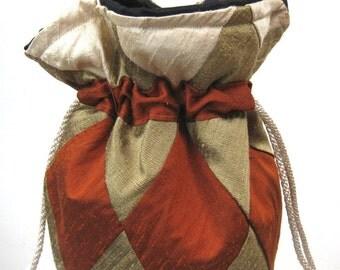Ivory, Bronze, Rust Patchwork Silk Drawstring Bag