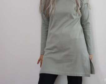 mamothreads sage ribbed knit  mini dress or tunic