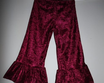 girls crushed panne ruffle pants - 2T ready to ship - custom sizes available 6 mo - 8