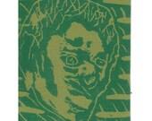 Sad Zombie Sticker - Green on Green 3in x 4in
