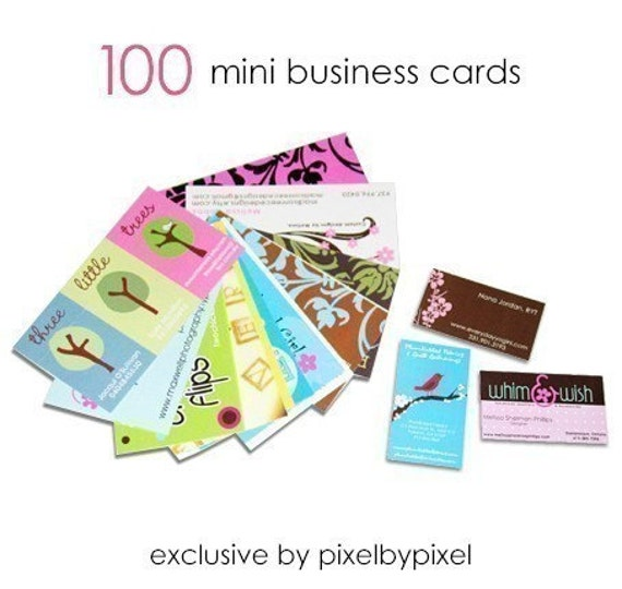 100 Custom Mini Business Cards -  High gloss - UNIQUE BY PIXELBYPIXEL