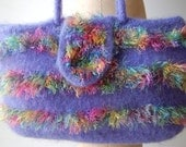 Purple Felted Wool Purse with Multicolored Eyelash Stripes