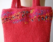 Felted Coral Tote with Confetti
