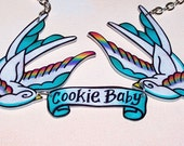 white teal and rainbow CUSTOMIZABLE sparrow necklace