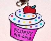 bright bold hot pink cupcake pet tag