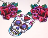 red rose and sugar skull necklace