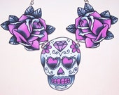 black pink and grey sugar skull and rose necklace