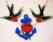 ahoy mate blue anchor and sparrow necklace