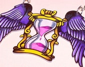 time flies winged hour glass necklace