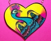 colorful peacock heart necklace