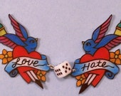 love hate swallows sparrows heart and dagger necklace