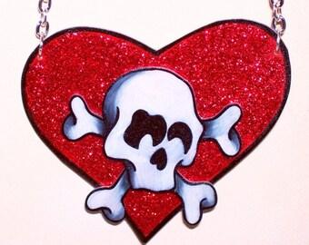 glitter and skulls poison heart valentine necklace