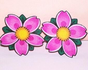 1 pair cherry blossom hair clips