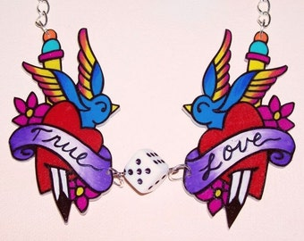 true love sparrows and dice necklace