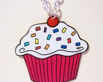 simple pink and white cupcake necklace
