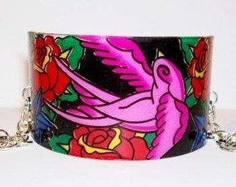black and hot pink sparrow cuff bracelet