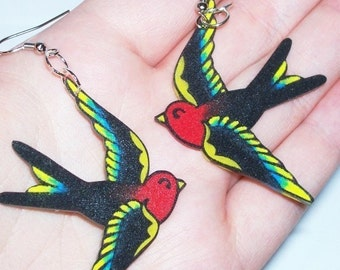 red and yellow tattoo style swallow earrings