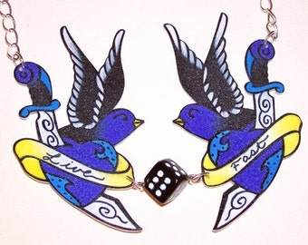 sparrows and dagger swallows live fast necklace