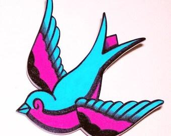 green and hot pink sparrow hairclip