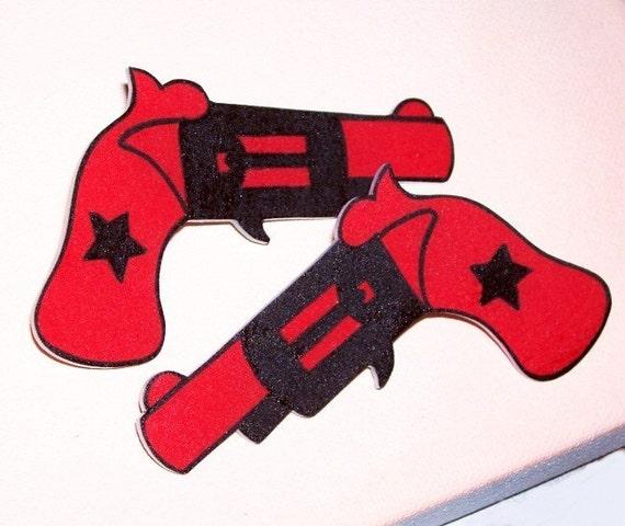 1 pair red and black gun pistol hair clips