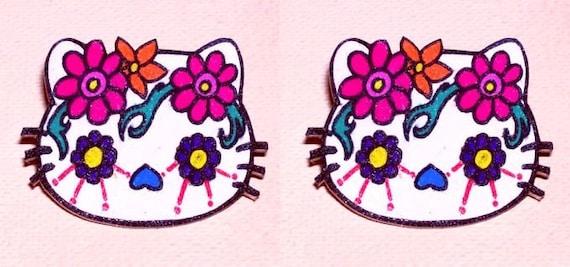 cat sugar skull earrings halloween spooky
