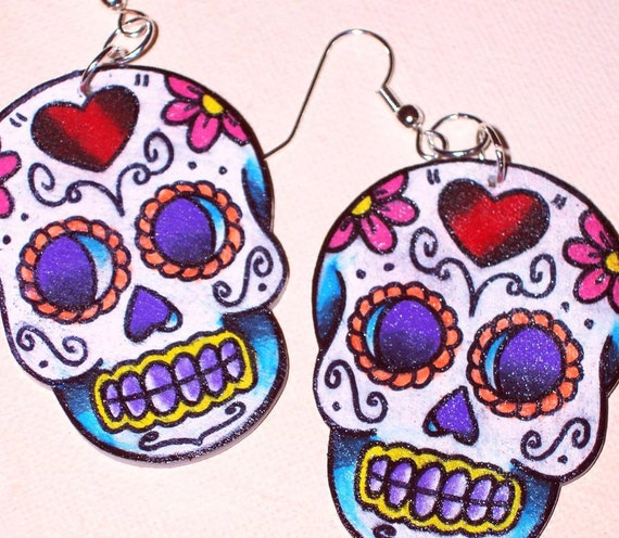red heart purple eyed sugar skull earrings