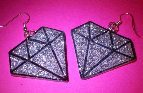 silver glitter diamond earrings