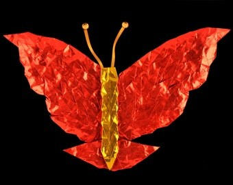 Red and Gold Butterfly on Black Velvet 8x10