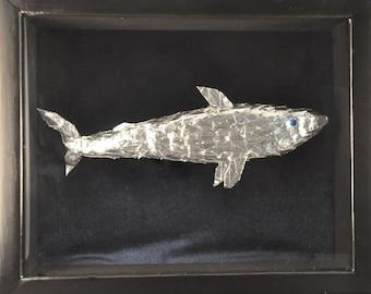 Shark -- Origami Crane Art in 9x11 Shadowbox Frame