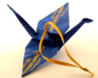 Gold Bamboo on Blue Origami Crane Ornament, Handpainted Home Decor