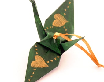 Gold Hearts on Forest Green Origami Crane Ornament Home Decor