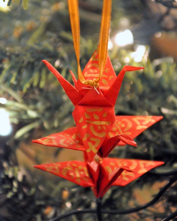 Red Origami Crane Trio Christmas Tree Ornament Gold