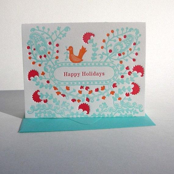 Folksy Happy Holidays letterpress cards set of 6