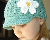 2-4T Flowered Visor Beanie - seaspray, yellow, white