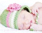 Newborn Flowered Earflap Beanie - light sage, rose pink, celery, ecru