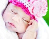 Baby CandyStripe Flapper Beanie - fuchsia, pastel pink, vanilla, white
