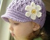 Baby Daisy Visor Beanie - violet, yellow, vanilla