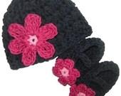 Baby Daisy Beanie and Maryjane Set  - black, rose pink, cranberry