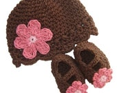 Baby Daisy Flapper Beanie and Maryjane Set  - chocolate, pastel pink, rose pink