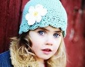 Baby Daisy Flapper Beanie - robins egg blue, yellow, white