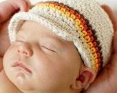 CLEARANCE Newborn Visor Beanie - ecru, chocolate, burnt orange, yellow