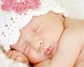 Children's Daisy Flapper Beanie - vanilla, pastel pink, rose pink