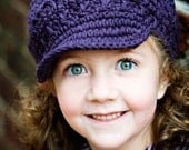 Children's Newsgirl Beanie - eggplant