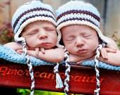 Baby Earflap Beanie - vanilla, baby blue, chocolate