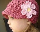 Baby Daisy Visor Beanie - dark rose, banana, pastel pink
